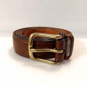 Orvis Men's Belt Brown Leather Solid Brass